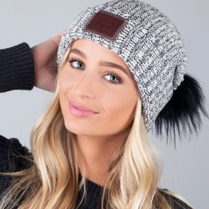 Love Your Melon Accessories - LOVE YOUR MELON BLACK SPECKLED CUFFED POM  BEANIE 382ea864717